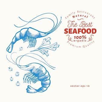 Ручной обращается шаблон из морепродуктов.