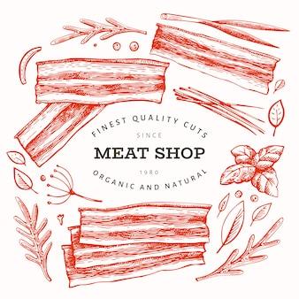 レトロな肉のテンプレート。