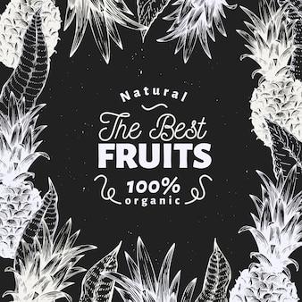 Ананасовый фруктовый дизайн. нарисованная рукой иллюстрация плодоовощ вектора на доске мела. выгравированный стиль ретро тропический.