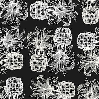 パイナップルのシームレスパターン。チョークボードに描かれたベクトルトロピカルフルーツイラストを手します。刻まれたスタイルのアナナスの実。