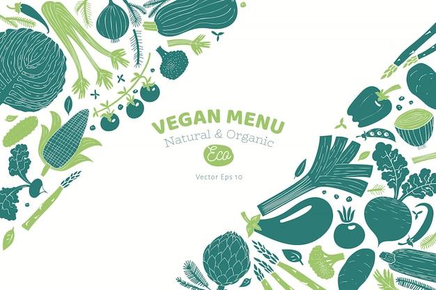 漫画の手描き野菜デザイン。モノクログラフィックリノカットスタイル。健康食品。ベクトルイラスト