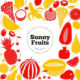 Скандинавский дизайн рисованной фруктов. векторные иллюстрации линогравюра стиль. здоровая пища.