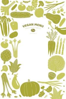 Мультфильм рисованной овощи дизайн. линогравюра стиль. здоровая пища. векторная иллюстрация