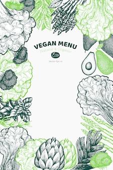緑の野菜デザインの背景。手描きの背景食品イラスト。刻印入り野菜