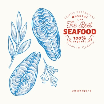 魚のステーキのイラスト。手描きの背景シーフードイラスト。刻まれたスタイルレトロな食べ物、サーモンやマスの部分