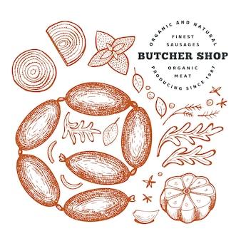 レトロなベクトル肉のイラスト。手描きソーセージ、スパイス、ハーブ。生の食材。ビンテージスケッチ