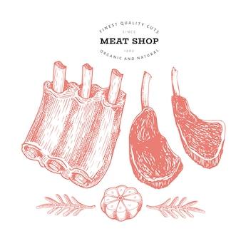 レトロなベクトル肉のイラスト。手描きの肋骨、スパイス、ハーブ。生の食材。ビンテージスケッチ