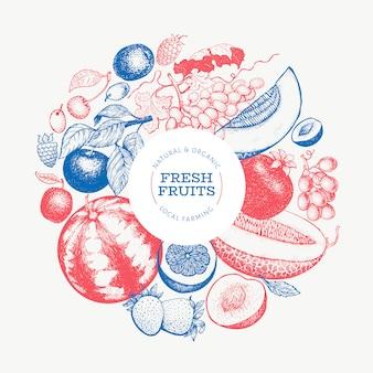 Фрукты и ягоды дизайн. нарисованная рукой иллюстрация тропических плодоовощей вектора. выгравированный стиль фруктов. винтажная экзотическая еда.