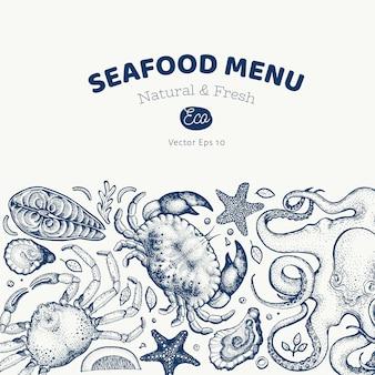 シーフードと魚のデザイン手描きイラスト