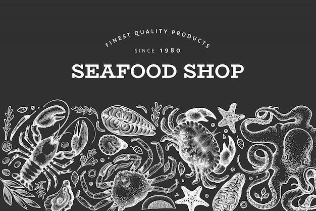 Дизайн морепродуктов и рыбы. рисованная иллюстрация