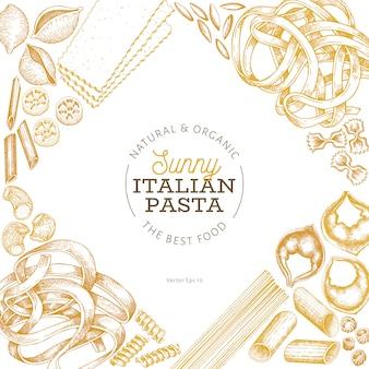 イタリアのパスタデザイン手描きの背景食品イラスト。刻まれたスタイルレトロパスタの種類が違います。