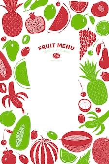 Скандинавская рисованная фруктовая рамка