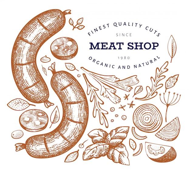 レトロなベクトル肉のイラスト