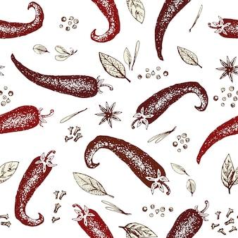 手でシームレスなパターンをベクトル描画唐辛子とスパイス。刻まれたスタイルのイラスト。