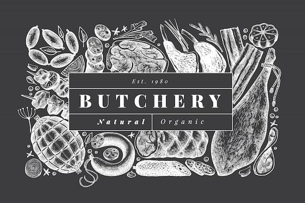 レトロなベクトル肉製品デザインテンプレート