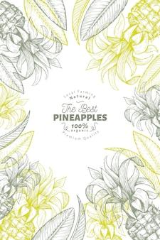 パイナップルと熱帯の葉のフレーム