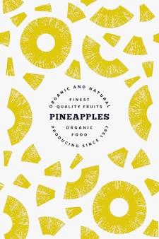 パイナップル作品デザインテンプレート。