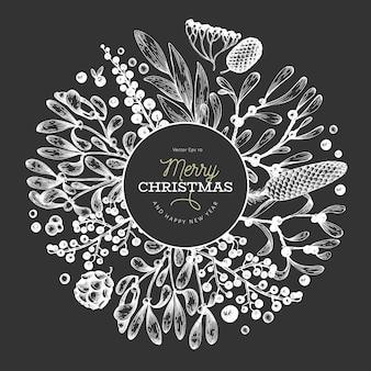 クリスマス手描きベクトルグリーティングカードテンプレート。