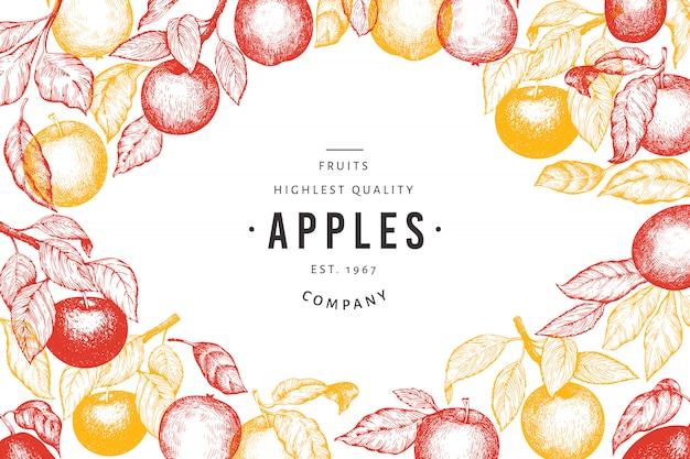 アップル支店テンプレート。手描きの庭の果物のイラスト。