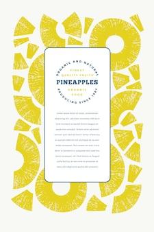 パイナップル作品テンプレート。手描きのトロピカルフルーツのイラスト。