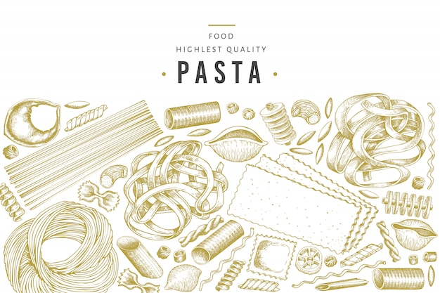 イタリアのパスタテンプレート。手描きの食べ物イラスト。