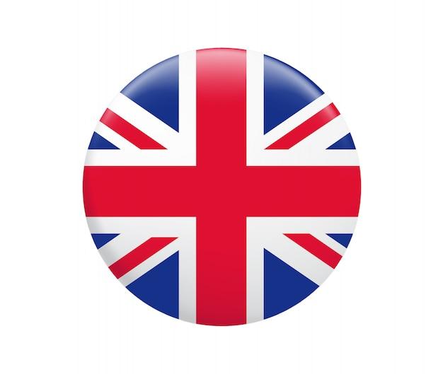 Кнопка флага соединенного королевства. значок флага великобритании.