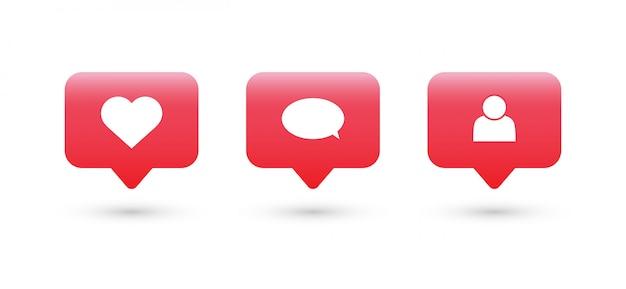 いいね、コメント、フォローアイコン。ソーシャルメディア通知アイコン。