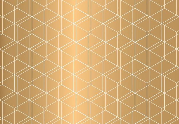 金色の背景に白のアウトライン幾何学的シームレスパターン。豪華なスタイル。
