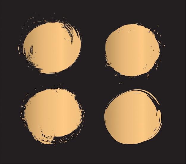ゴールドペイントブラシストロークのセット。
