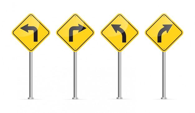 湾曲した道路標識。