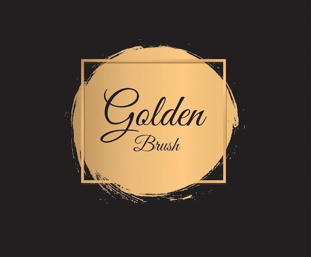 Золотая кисть мазки на черном фоне. золотой круг.