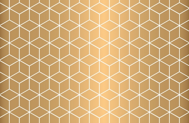 金色の背景に白のアウトライン幾何学的シームレスパターン。