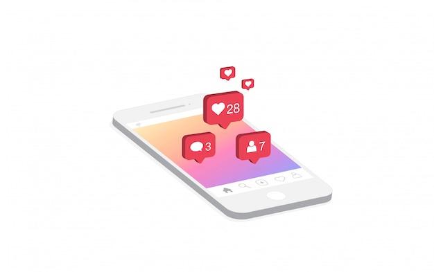 スマートフォン上のソーシャルメディア通知アイコン。