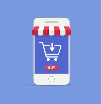 スマートフォンでのオンラインショッピング。