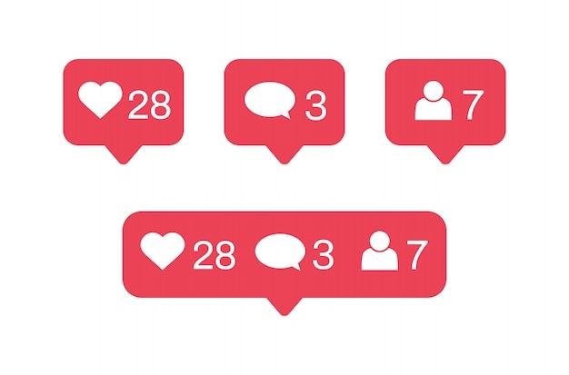 ソーシャルメディアの通知アイコン。好き、コメント、アイコンに従ってください。