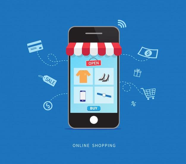 スマートフォンで簡単にオンラインショッピング。
