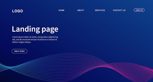 着陸ページウェブサイトのためのモダンなデザイン。
