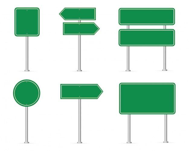 道路標識のセットです。空白の緑の道路標識。