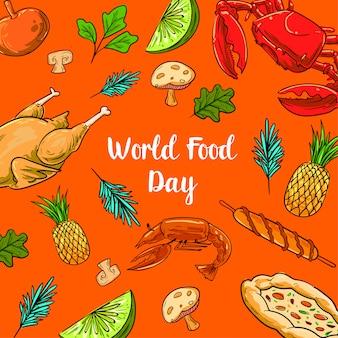 Всемирный день продовольствия с красочными фруктами, курицей и овощами