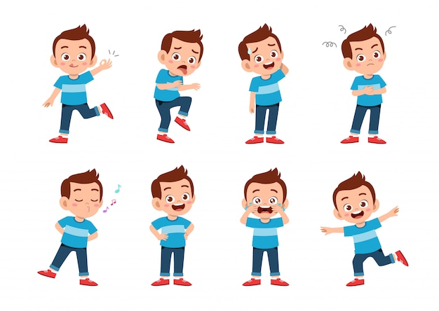 Милый парень со многими выражениями жестов