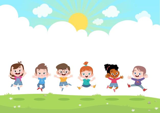 幸せな子供たちが一緒にベクトルイラスト