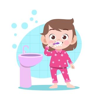 子供の女の子の歯を磨くベクトルイラスト