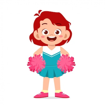 Счастливая милая девушка носить чирлидер симпатичная форма