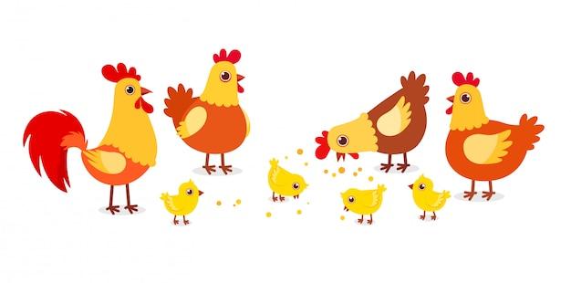 村の幸せなかわいい鶏農場の家禽