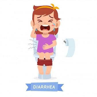 トイレで泣いている悲しい子供の女の子