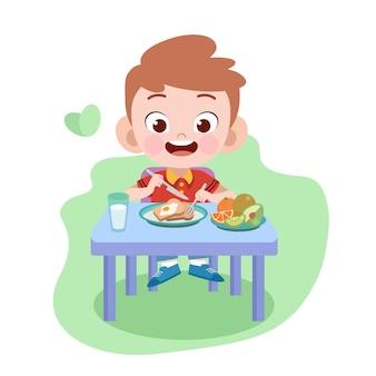 子供男の子イラストを食べる