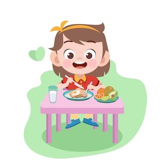 子供女の子食べるイラスト