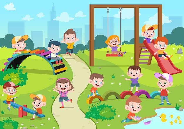 子供の遊び場のイラストを遊んでいる子供たち