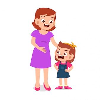 ママは彼女の怒っている子供の女の子と話をしよう