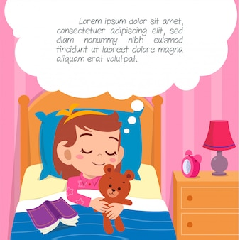 ベッドの部屋で眠る幸せなかわいい子供女の子